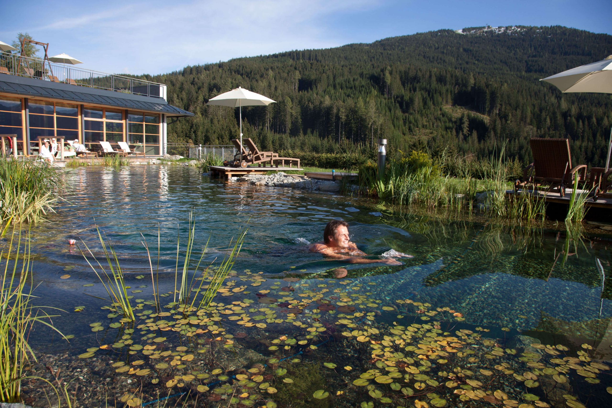 Outdoor Green Spa im Naturidyll Hotel Edelweiss Wagrain