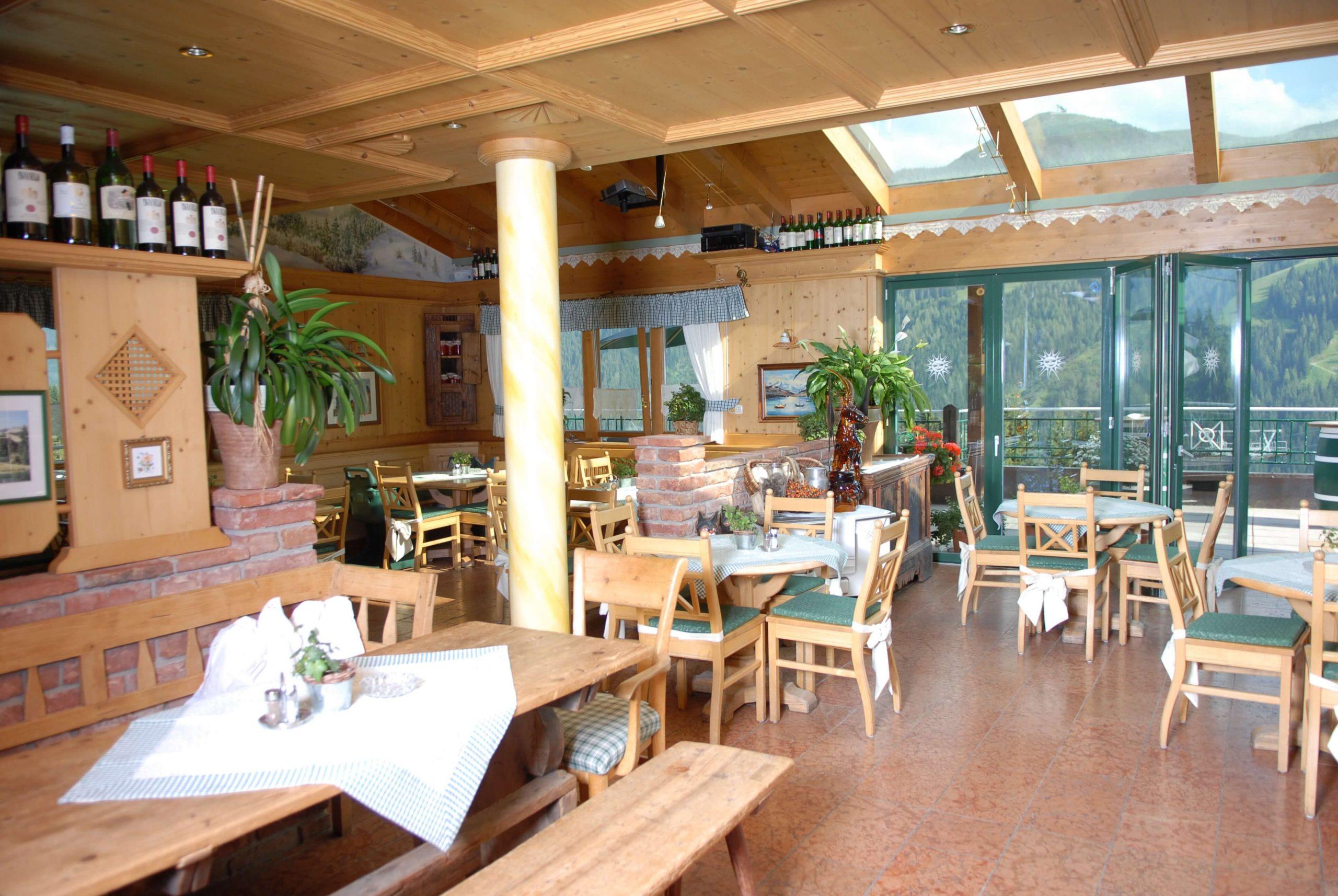 Restaurant mit Bergblick in der Alpenoase Sonnhof